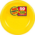 Amscan Big Party Pack 50 Count Plastic Dessert Plates, 7-Inch, Sunshine Yellow
