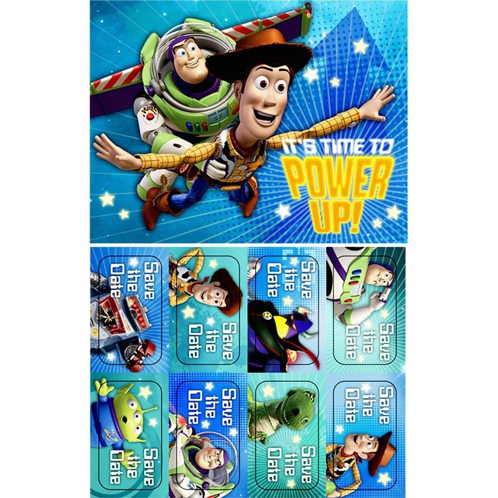 Toy Story Pack of 8 Invitations  - Its Time To Power Up