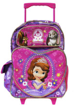 Sofia the First Large 16 Inch Cloth Backpack With Wheels - Purple Heart