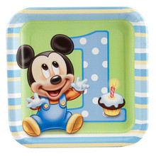 Mickey Mouse Small 7 Inch Dessert Party Cake Plates - Baby Mickey 1st Birthday