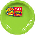 Big Party Pack Large 10 Inch Lunch Plastic Plates - Kiwi
