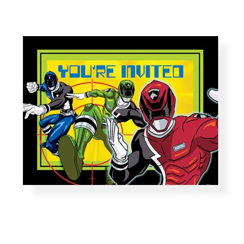 Power Rangers Pack of 8 Invitations  - Red Blue Green