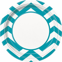 Chevron Teal Large 9 Inch Dinner Lunch Plates