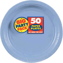 Big Party Pack Large 9 Inch Paper Plates - Pastel Blue
