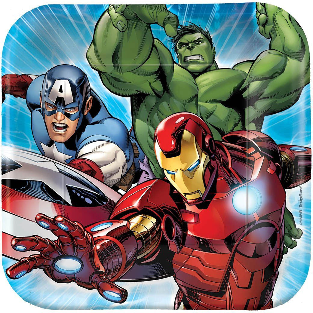 Avengers Assemble Small 7 Inch Party Cake Square Dessert Plates