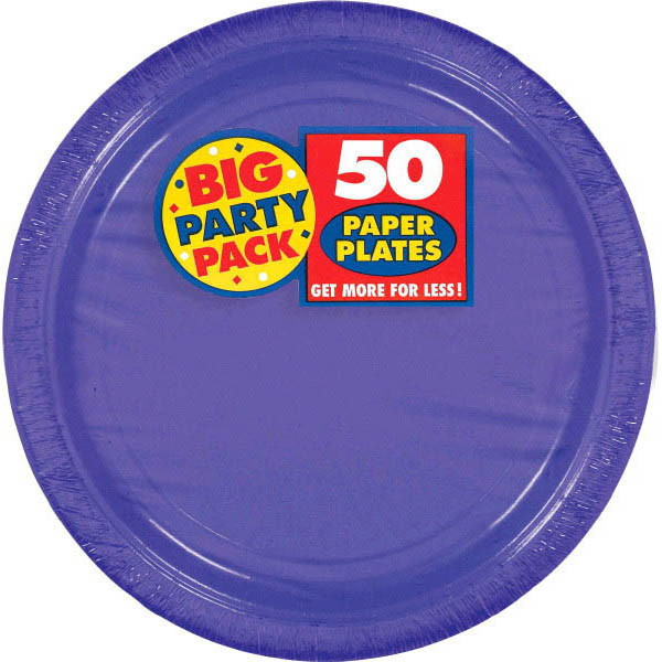 "Amscan Amscan New Purple Big Party Pack 9""  Dinner Plates (50 Count), 1, purple"