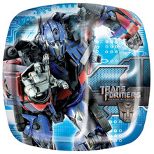 Transformers Large 9 Inch Square Pocket Compartment Lunch Dinner Plates - Blue
