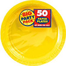 Big Party Pack Large 9 Inch Paper Plate - Sunshine Yellow