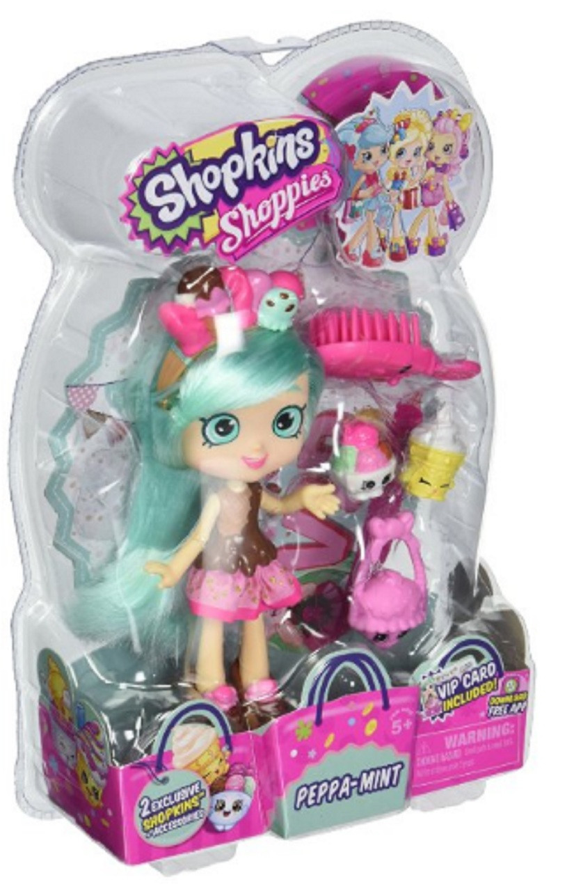 "Shopkins 6"" Plastic Toy Doll with Accessories - Peppa-Mint"