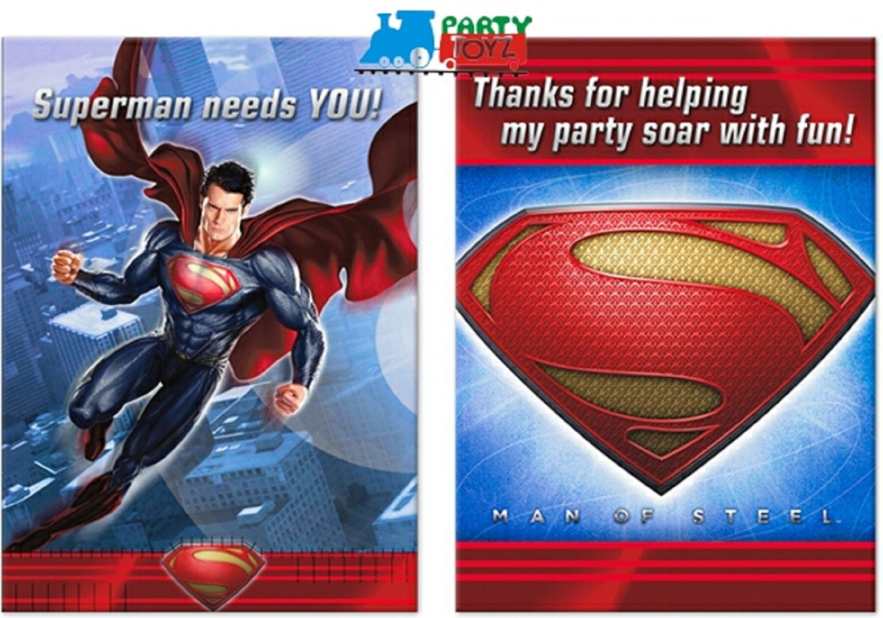 Superman Pack of 8 Invitations with Thank You Cards