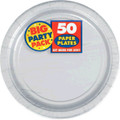 Amscan AMI 650013.18 Silver Big Party Pack Dinner Plates (50 Count), 1, silver