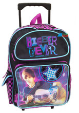 """Justin Bieber Large 16"""" Cloth Backpack Book Bag Pack With Wheels - Pink"""