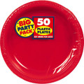 Big Party Pack Small 7 Inch Dessert Plastic Plates - Apple Red