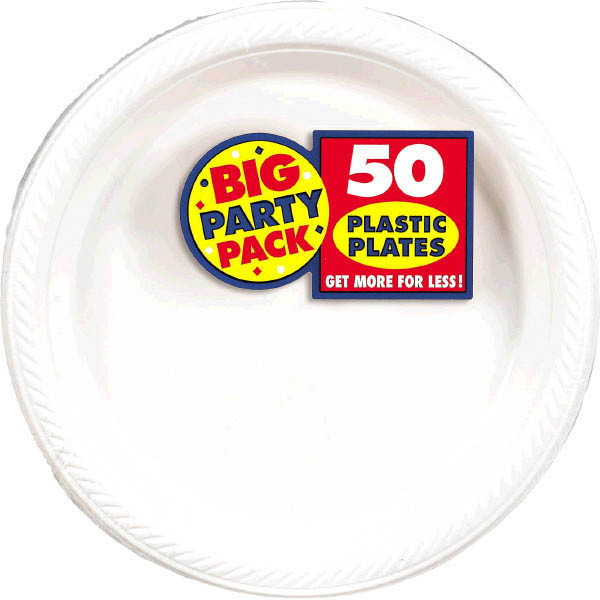 Amscan Big Party Pack 50 Count Plastic Lunch Plates, 10.5-Inch, White