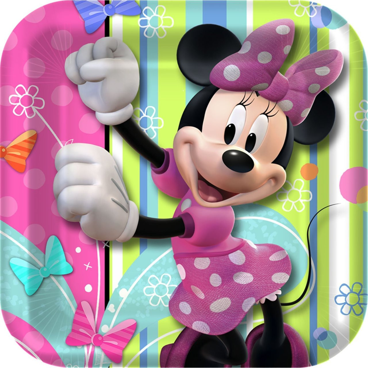 Minnie Mouse Bow-tique 7 Inch Small Square Dessert Party Cake Plates