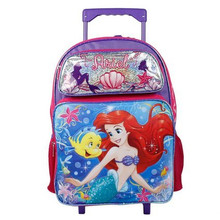 Little Mermaid Ariel Large Rolling 16 Inch Backpack - Purple/ Hot Pink