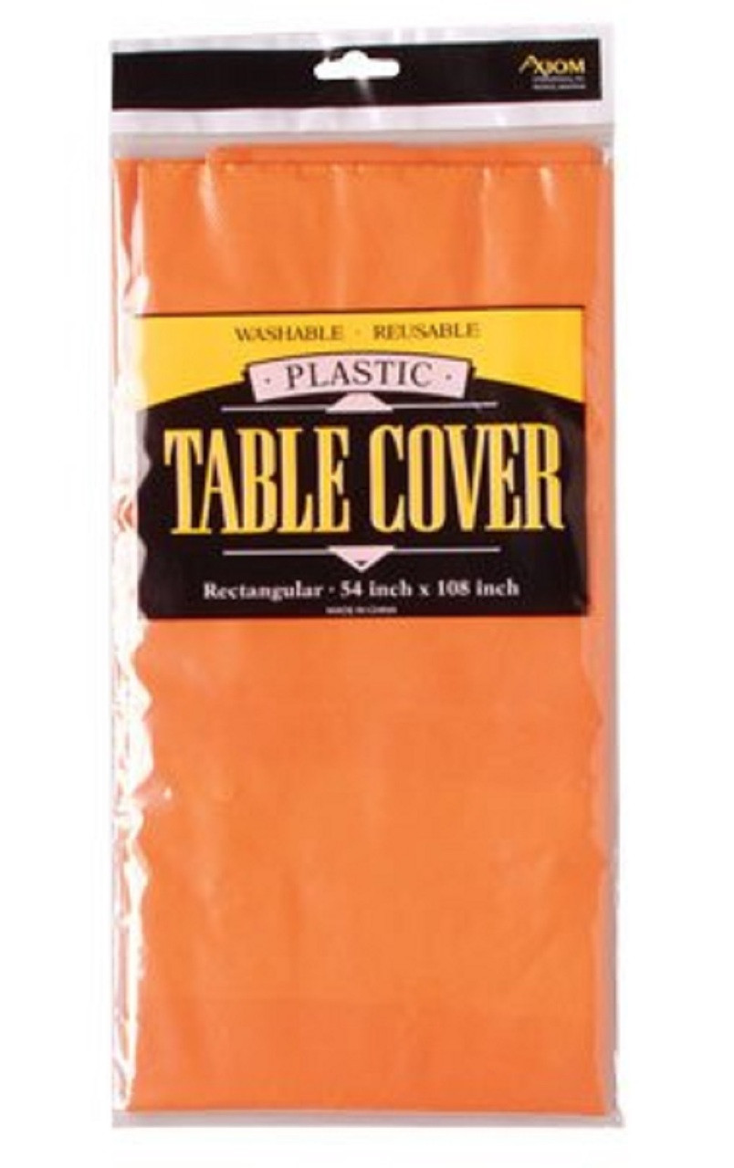 Solid Color Plastic Tablecover Table Cover - Orange
