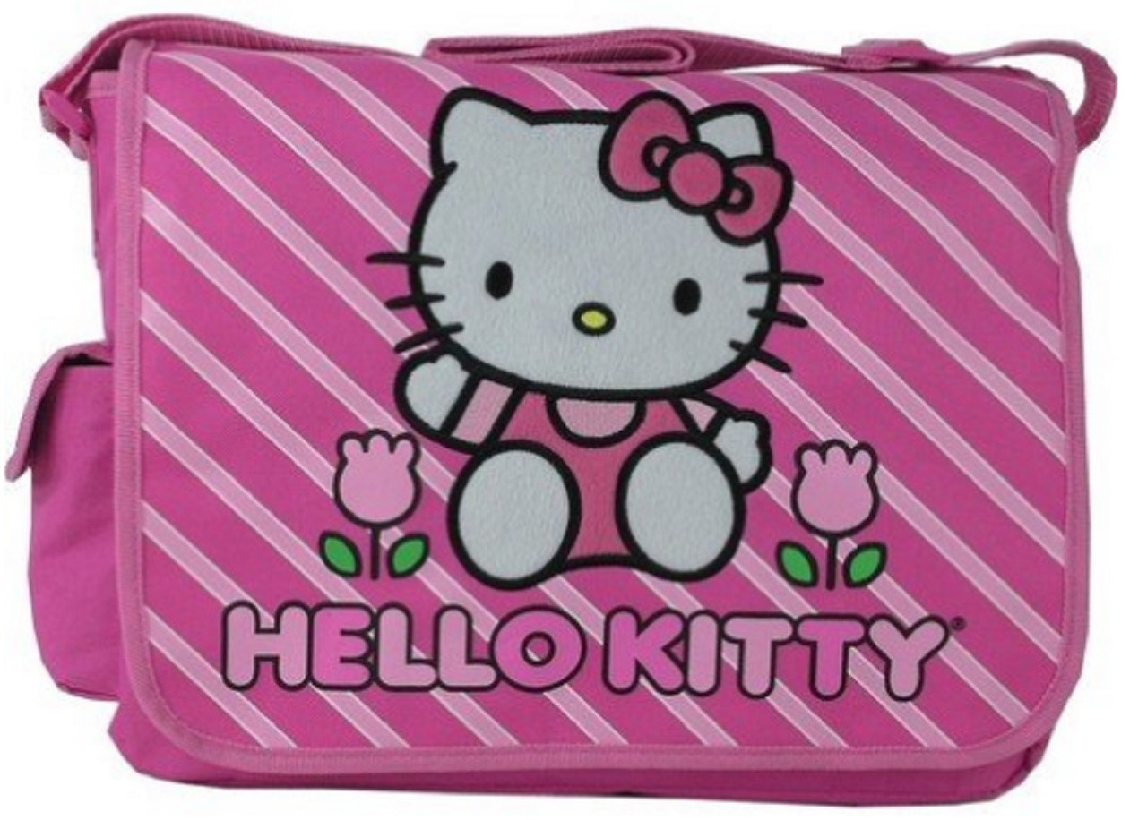 fbe92ba084dd Hello Kitty Large Messenger Sling Laptop Book Bag Pack - Stripes