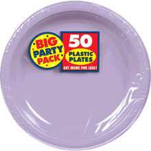 Amscan Big Party Pack 50 Count Plastic Dessert Plates, 7-Inch, Lavender