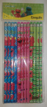 Baby Elmo Green/Pink.Blue Wooden Pencils Pack of 12