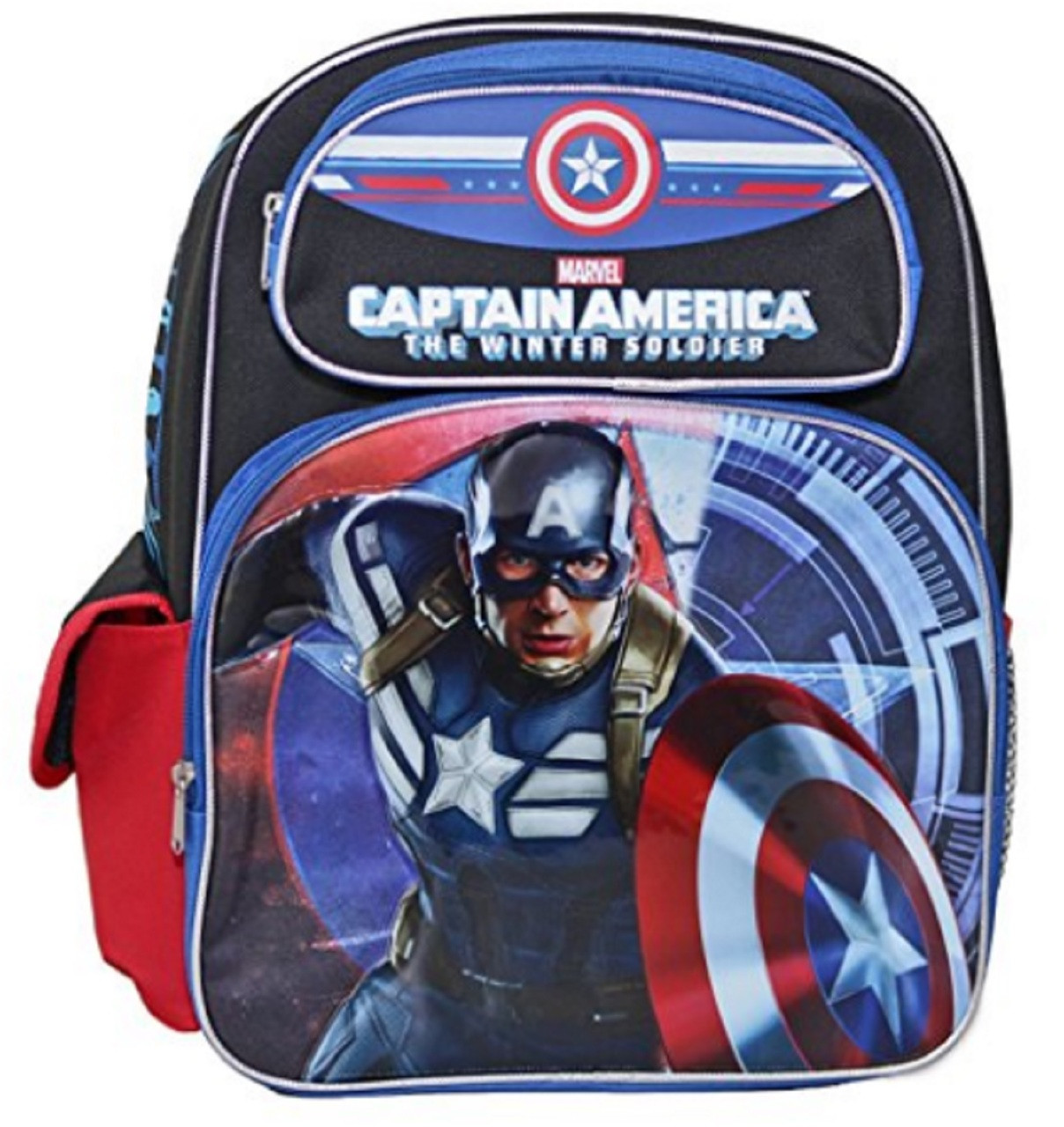 """Captain America Large 16"""" Cloth Backpack Book Bag Pack - Blue Style1"""