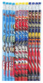 Cars 2 Light-blue/Red/Purple Wooden Pencils Pack of 12