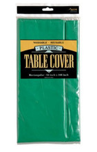 Solid Color Plastic Tablecover Table Cover - Forest Green