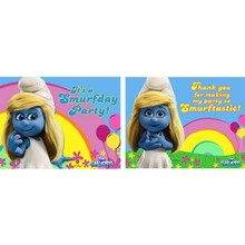 The Smurfs Pack of 8 Invitations  with Thank You Cards - Pink