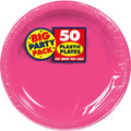 Amscan Big Party Pack 50 Count Plastic Dessert Plates, 7-Inch, Bright Pink