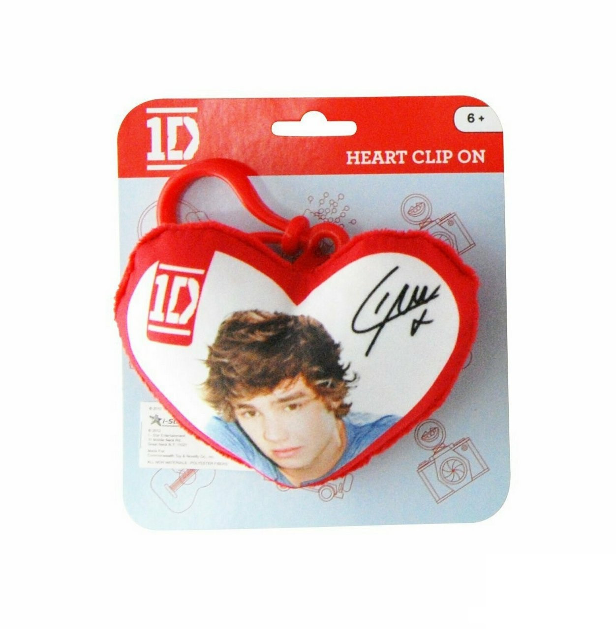 One Direction 1D Plush Heart Keychain Clip - Liam