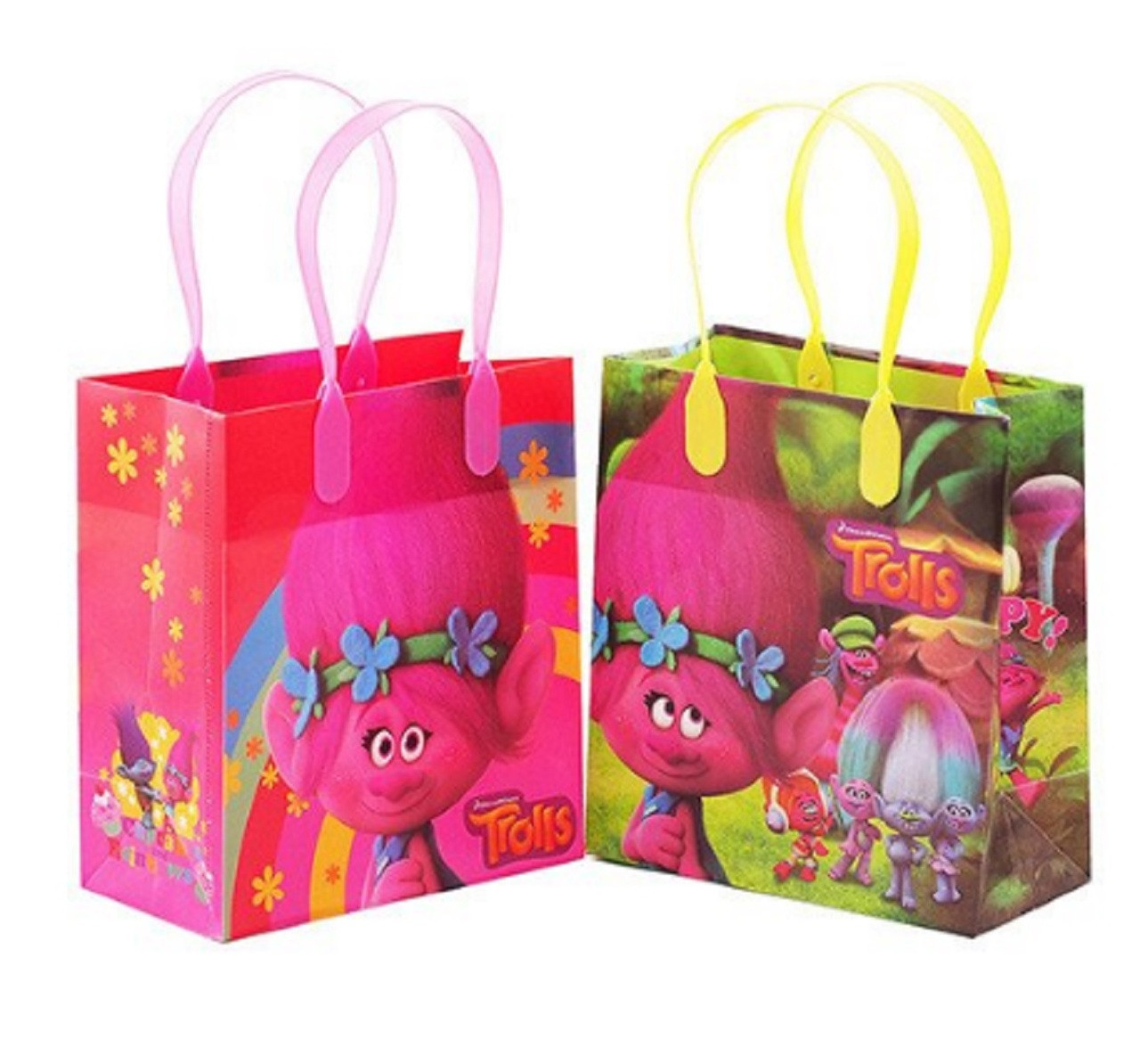 Trolls Pack of 12 Party Favor Reusable Small Plastic Gift Goodie Bags 6in