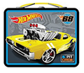 "Hot Wheels Square Carry All Tin Lunch Stationery Box - ""Pit Crew"""