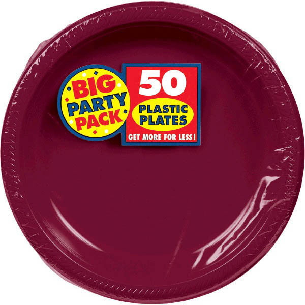 Big Party Pack Large 10 Inch Lunch Plastic Plates - Berry