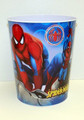 Spiderman Tin Trash Bin Can Wastebasket Box Carry All - Blue