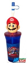 Mario Brothers 12oz Plastic Straw Cup Glass W Figure Drink Tumbler