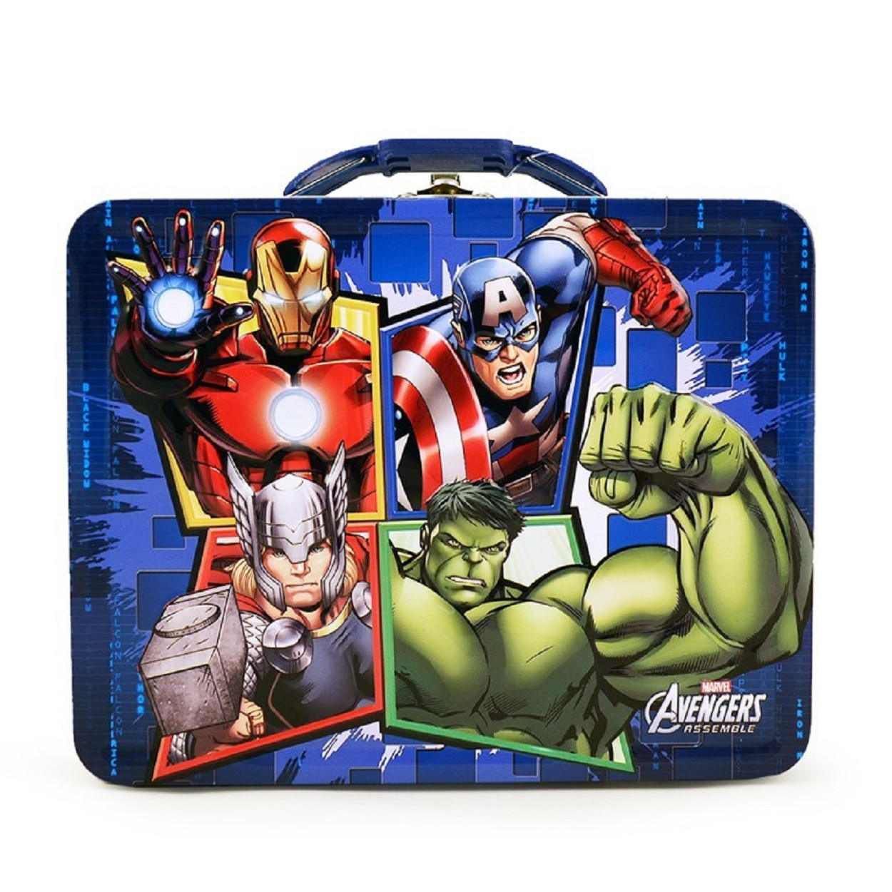 Avengers Assemble Square Tin Carry All Stationery Small Lunch Box  - Blue Handle