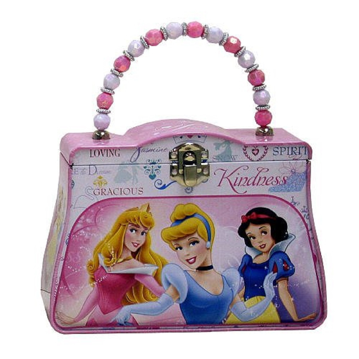 Princess Snow White Belle Tin Box Carry All Purse with Beaded Handle