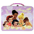 Tinkerbell Fairies Square Tin Stationery Small Lunch Box Lunchbox - Purple