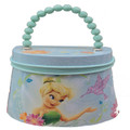 Tinkerbell Tote Tin Box Carry All Purse with Beaded Handle - Blue