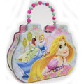 Princess Rapunzel Tiana Cinderella Tin Box Carry Purse Blue/Pink