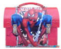 Spiderman Workman's Style Dome Tin Box with Clips - Red