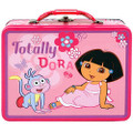 Dora the Explorer Square Tin Stationery or Small Lunch Box Lunchbox - Pink