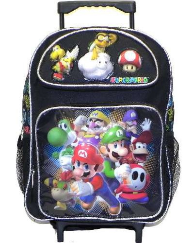 """Mario Brothers Large 16"""" Rolling Backpack Bag - Group Black"""