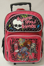 Monster High Large Rolling Backpack Book Bag with Wheels - Best Ghoul Friends