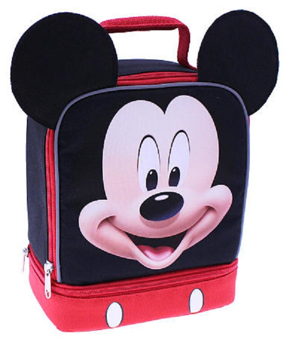 Mickey Mouse 3D Ears Dual Compartment Cloth Lunch Box - Red