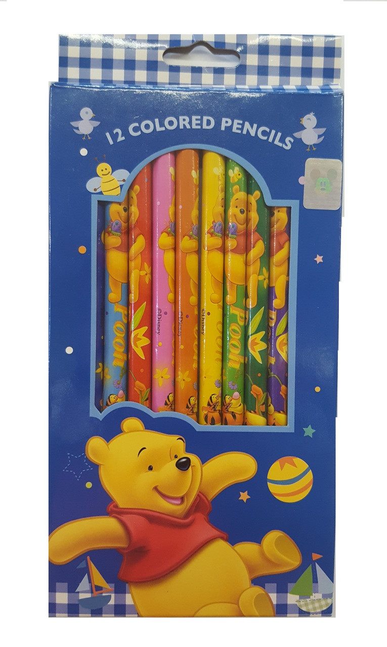 Winnie the Pooh Pack of 12 Wooden Pencils - Blue