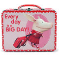 Olivia the Pig Square Carry All Tin Stationery Lunchbox Lunch Box - Red