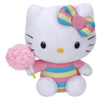 "Hello Kitty Small Ty Beanie Baby 6.5"" Plush Toy - Cotton Candy"
