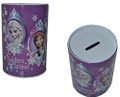 Frozen Princess Anna Elsa Round Tin Coin Bank - Sisters Forever