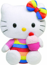 Hello Kitty Medium TY Beanie Baby 6 inch  Plush Toy - Rainbow Cupcake